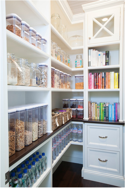 Colorful Pantry with Custom Cabinetry