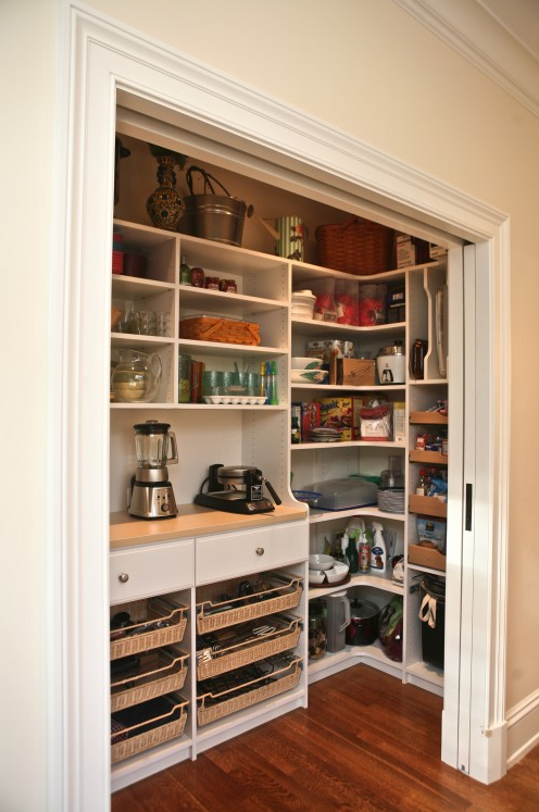 Walk-In Pantry with Built-In Hutch