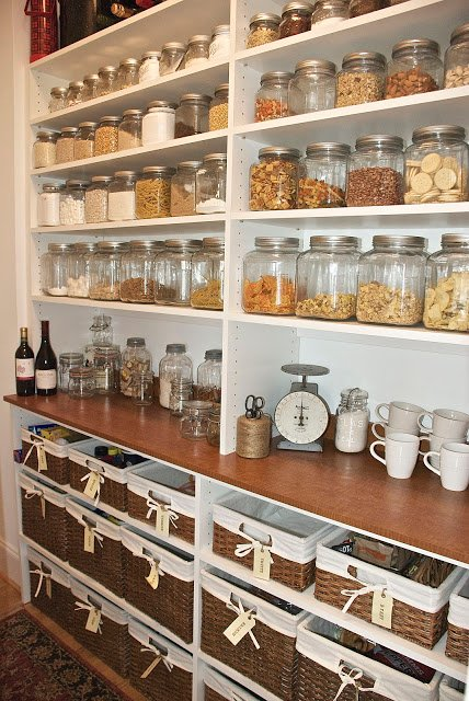 Country Built-In Pantry with Glass Canisters