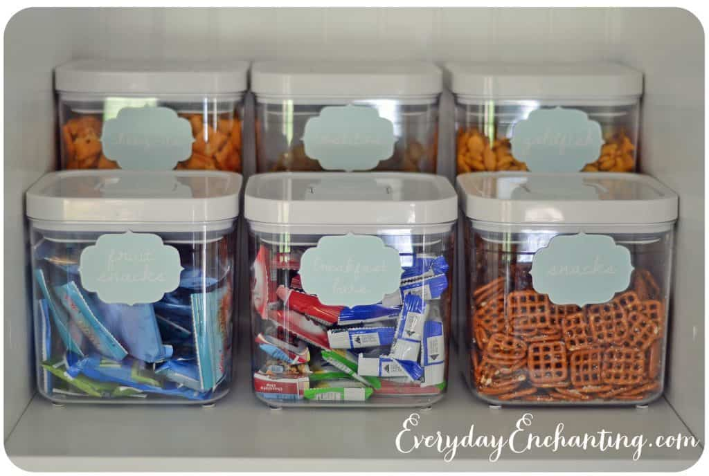 Bad Idea - having permanent labels on snack containers in the pantry :: OrganizingMadeFun.com