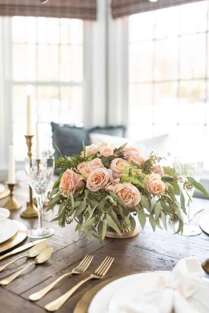 Gold & Blush cascading flower arrangement centerpiece