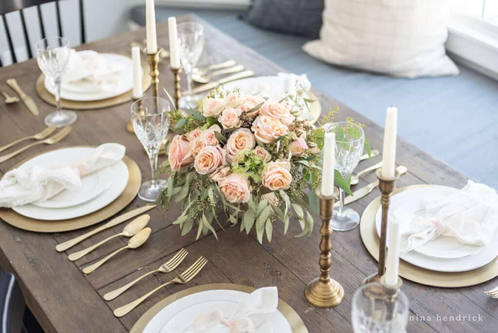 Romantic Gold & Blush Valentine's Day Tablescape
