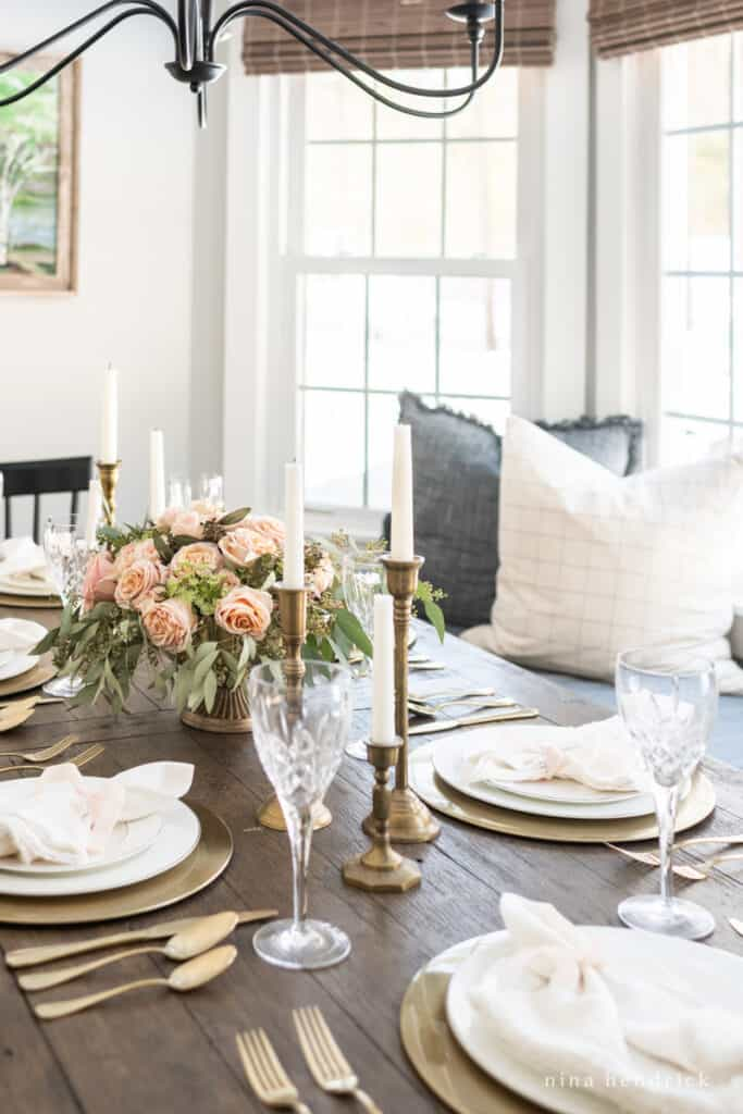 Gold & Blush Valentine's Day tablescape in a sunny room