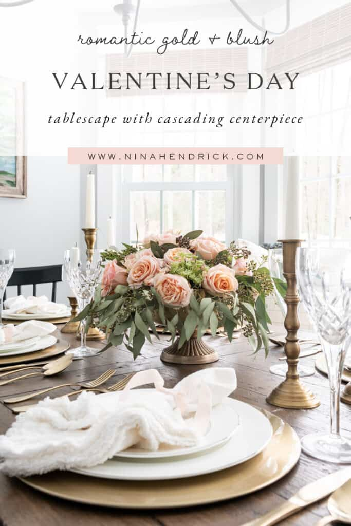 Romantic gold & blush Valentine's Day tablescape with cascading centerpiece