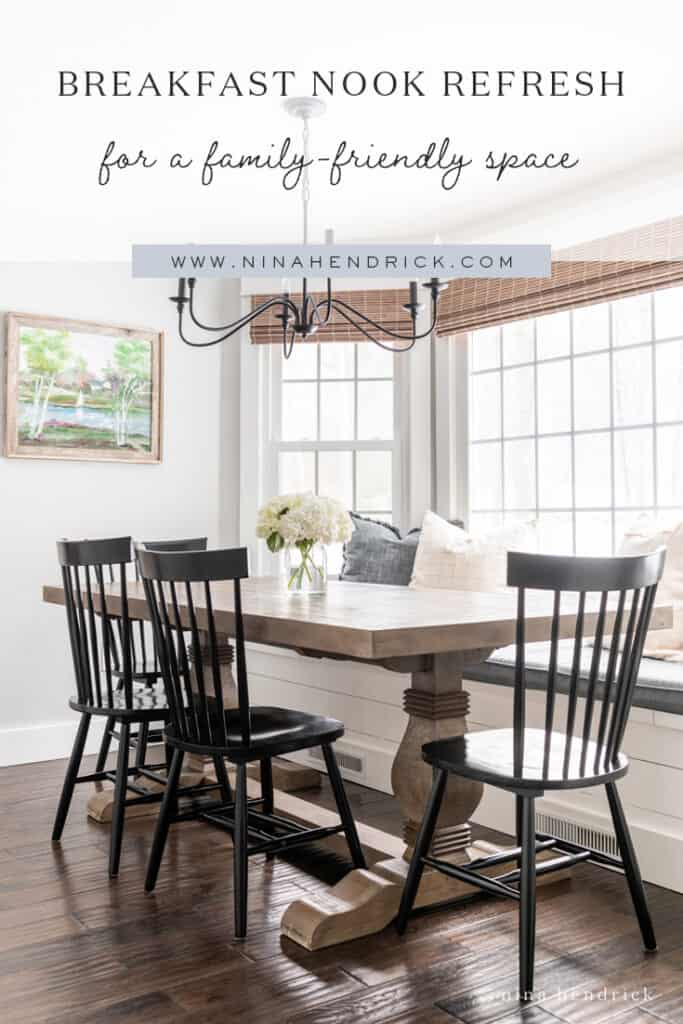 Looking to create a more kid-friendly space? This breakfast nook refresh features updates to add practicality for our family and cohesion with our renovated kitchen.