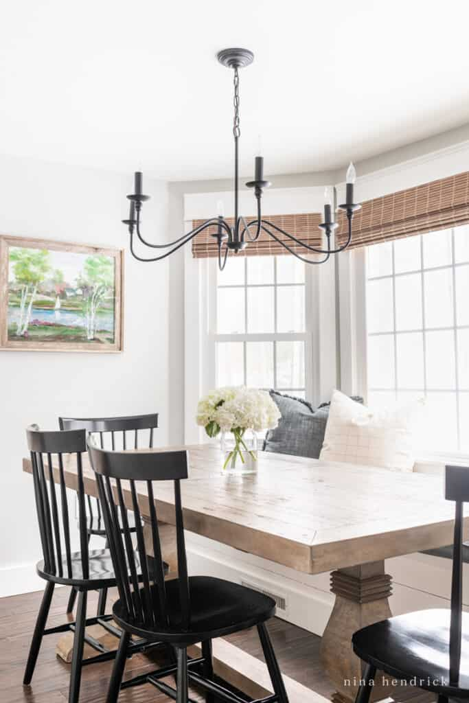 Breakfast nook refresh with upholstered bay window bench