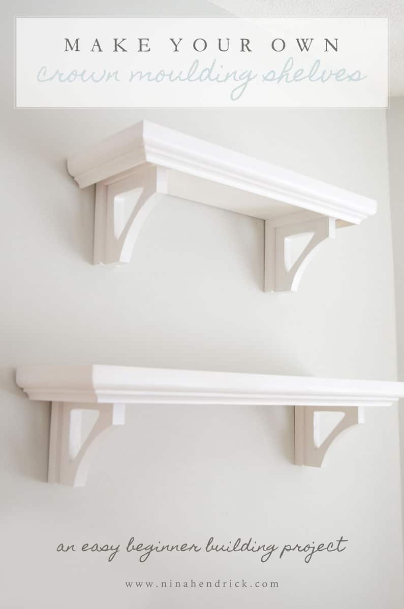 DIY Crown Moulding Shelves | Learn how to make these easy crown moulding shelves from @nina_hendrick. They are perfect for kitchen storage and seasonal displays. This is a great beginner building project!