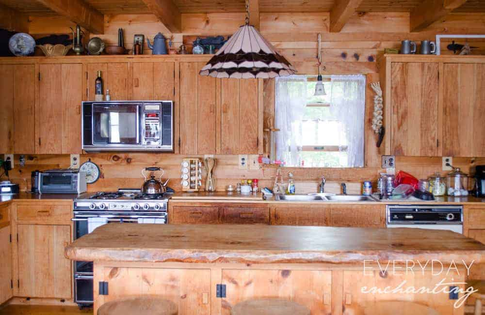 Rustic lakeside log cabin home tour for Wooden camp kitchen designs