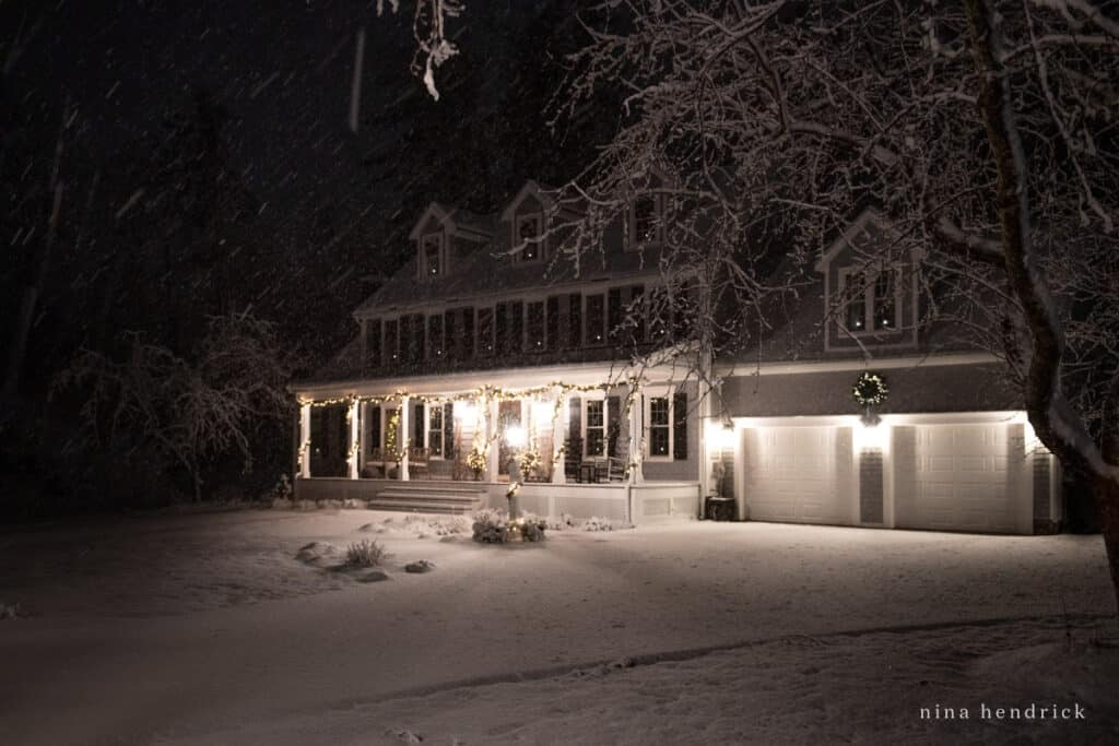 Snowy New England Colonial Christmas Home Tour at Night