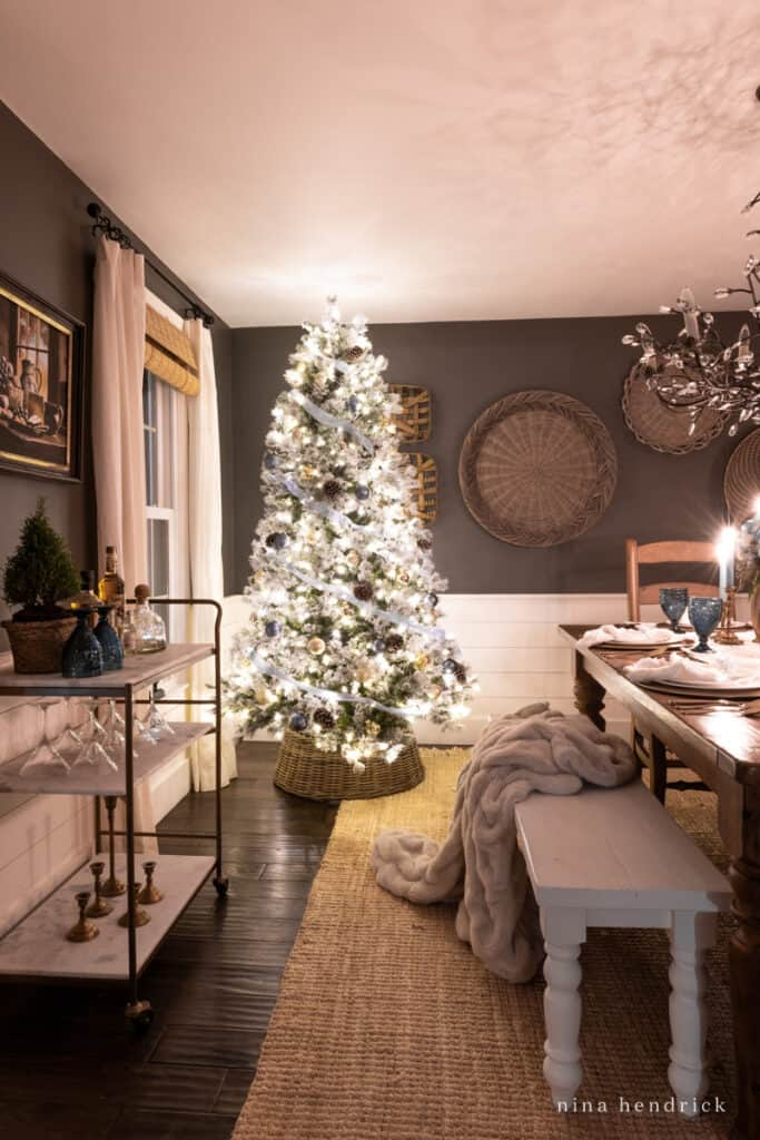 Christmas Home Tour at Night in the dining room with Christmas tree and bar cart