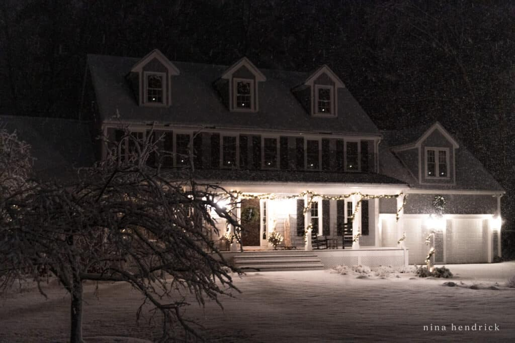 Snowy Christmas Home Tour at Night with Lights and a Farmer's Porch