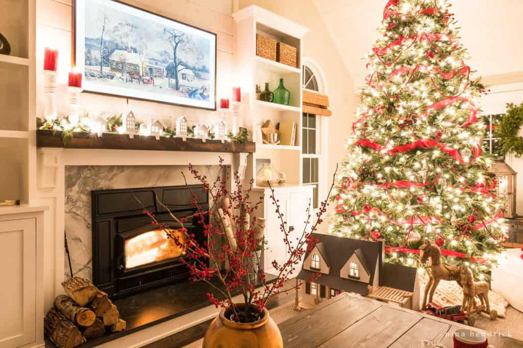 Christmas Night Home Tour of tree and roaring fire