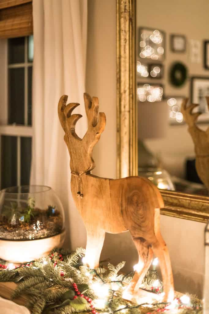 wooden deer Christmas decor
