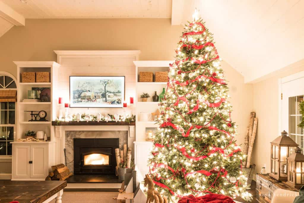 Christmas tree and family room fireplace