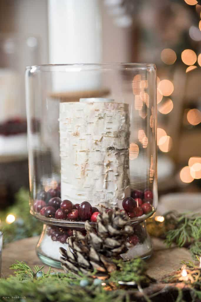 Christmas 2016 Nina Hendrick Holiday Housewalk | Create an easy holiday luminary by layering epsom salt, cranberries, and a birch candle in a hurricane.