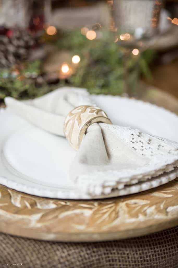 Christmas 2016 Nina He ndrick Holiday Housewalk | Wood Charger with lace napkin and wood napkin ring