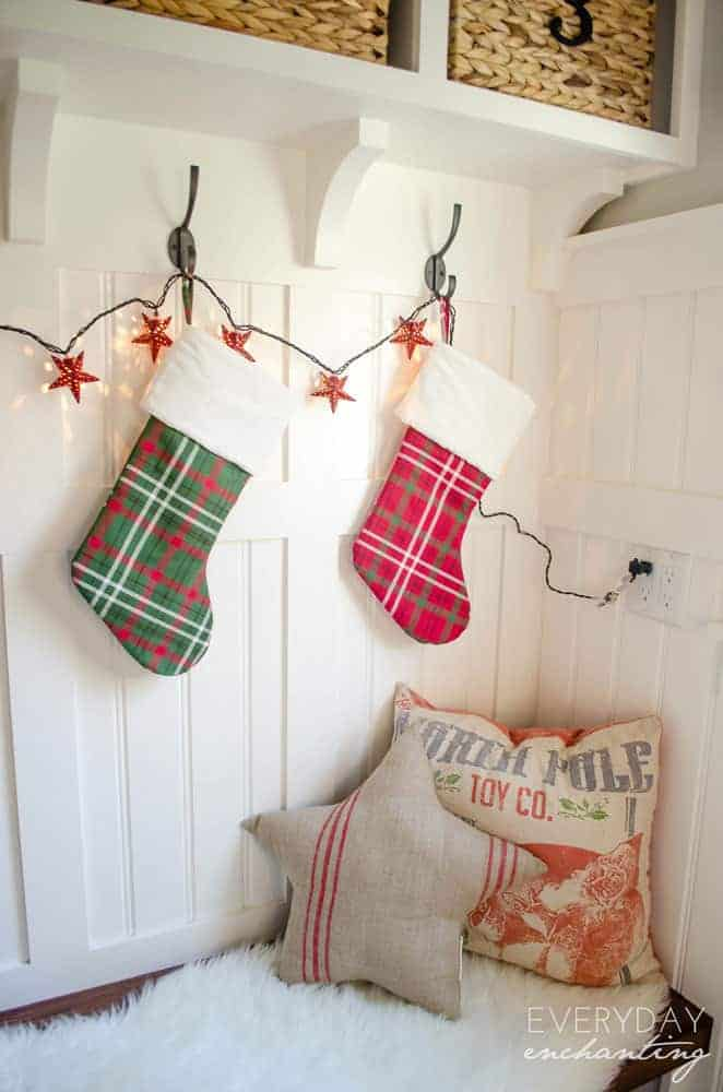 Cozy and Rustic Christmas Mudroom