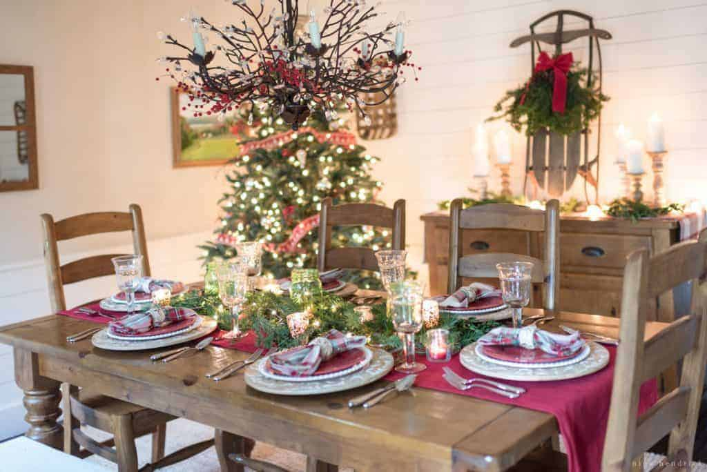 Classic Christmas Decor | Gather simple classic Christmas decor ideas for the exterior, entryway, and dining room from this Seasonal Simplicity Tour.