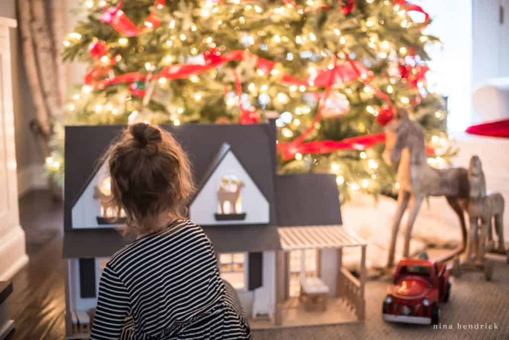 Classic Christmas Family Room Little Girl Playing