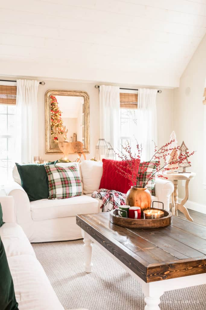 Family Room Decorated for Christmas with classic red and green