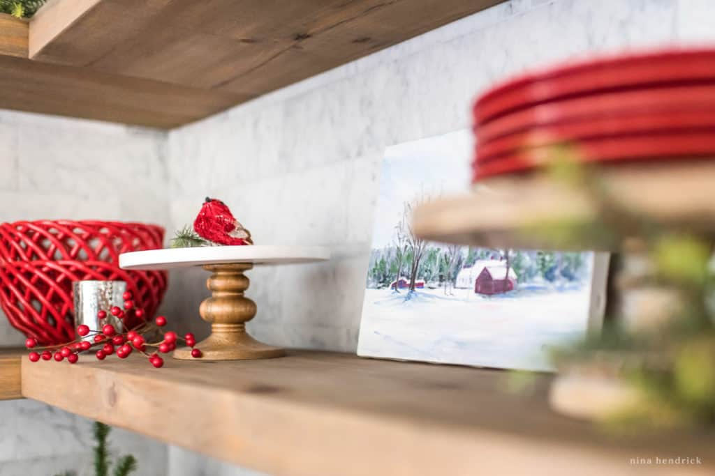 Classic Christmas Kitchen Shelf Vignette