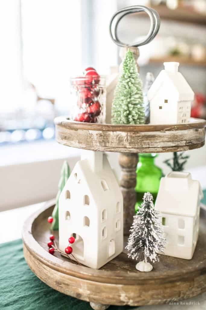 Christmas Village vignette on a tiered tray