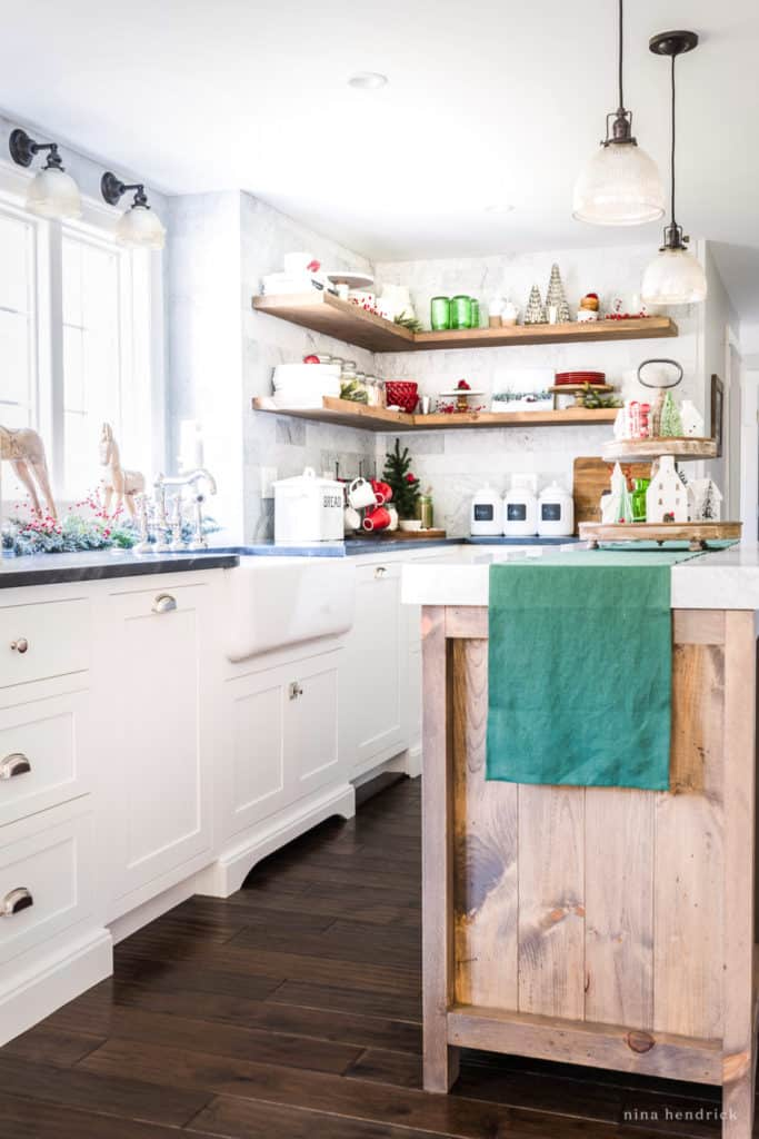 Classic Christmas Kitchen with bright red and green decorations