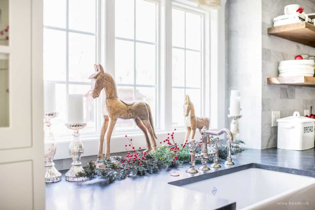 Classic Christmas Kitchen Decor with Wooden Toy Horses