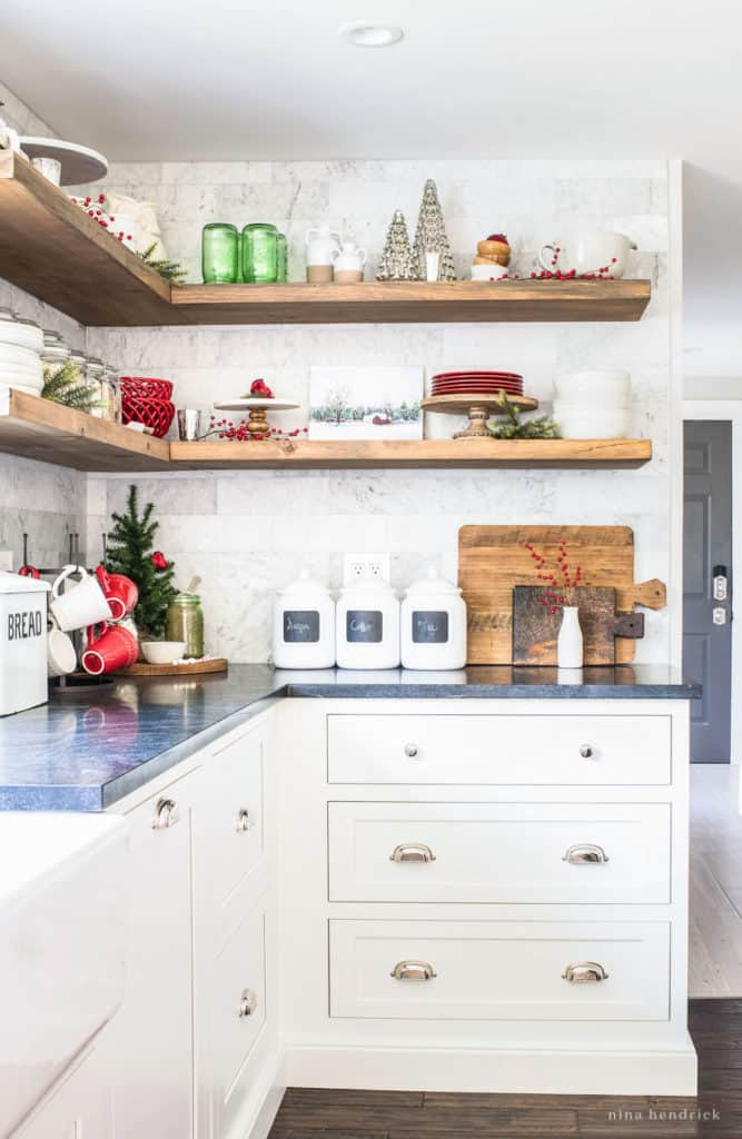 Classic Christmas Kitchen Decorated Open Shelving