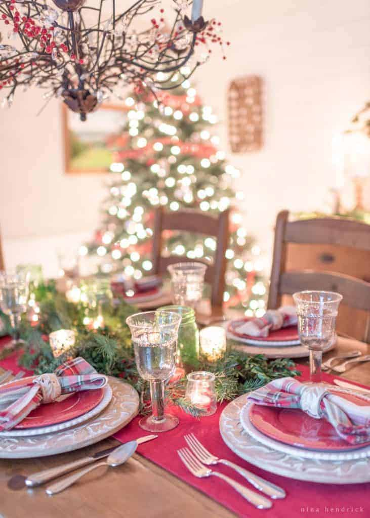 Christmas tabletop with red and green place settings