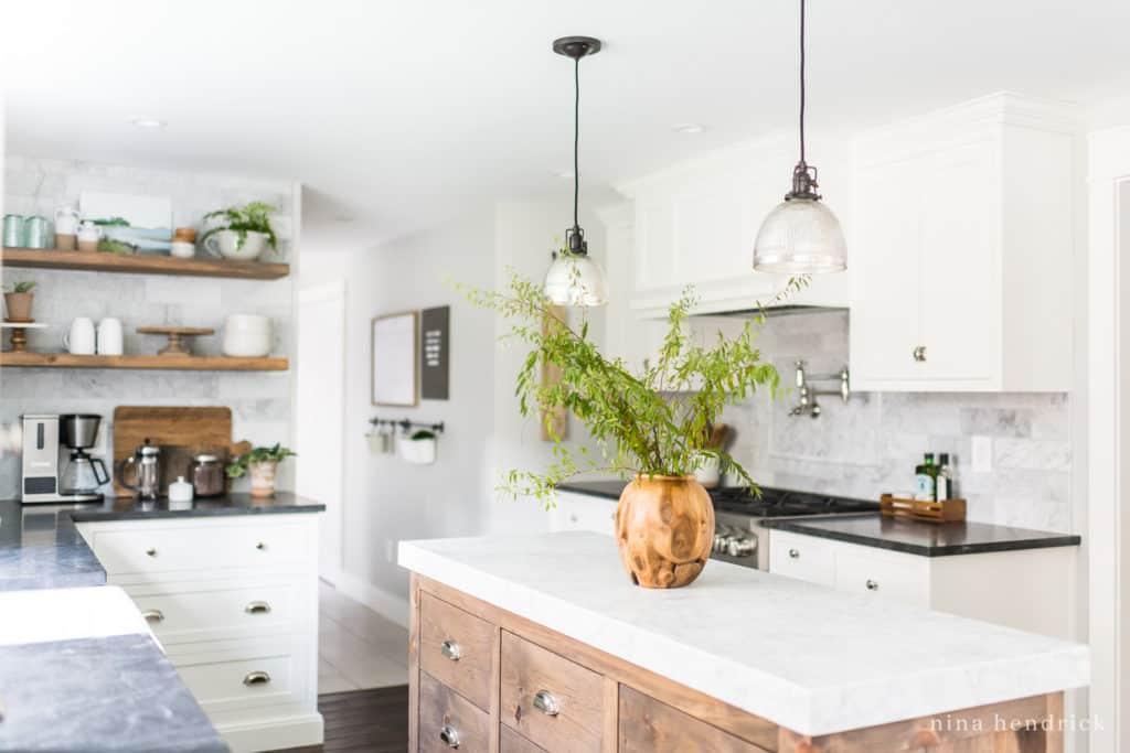Classic Kitchen Renovation Source List for White Cabinets and Mercury Glass Pendants