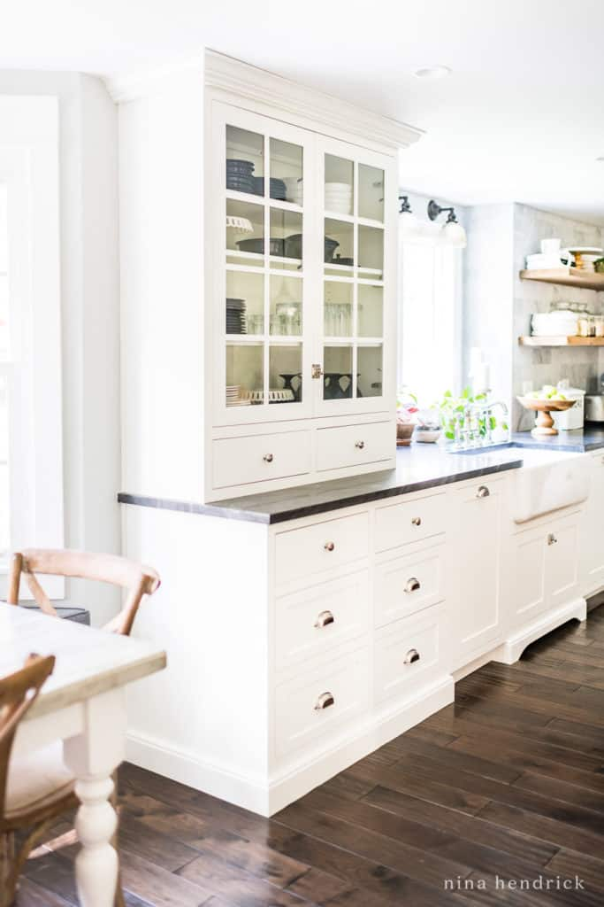 Polar White hutch from Shiloh cabinetry and a full kitchen renovations source list