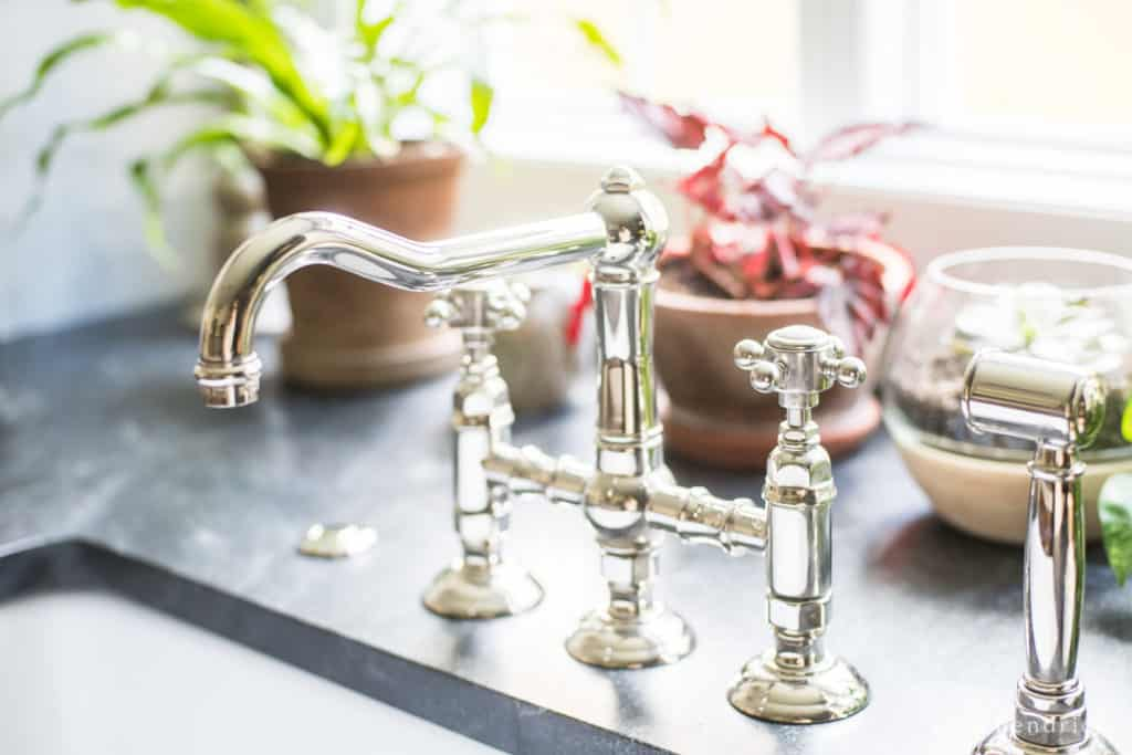 kitchen renovation source list—Rohl bridge faucet with a polished nickel finish