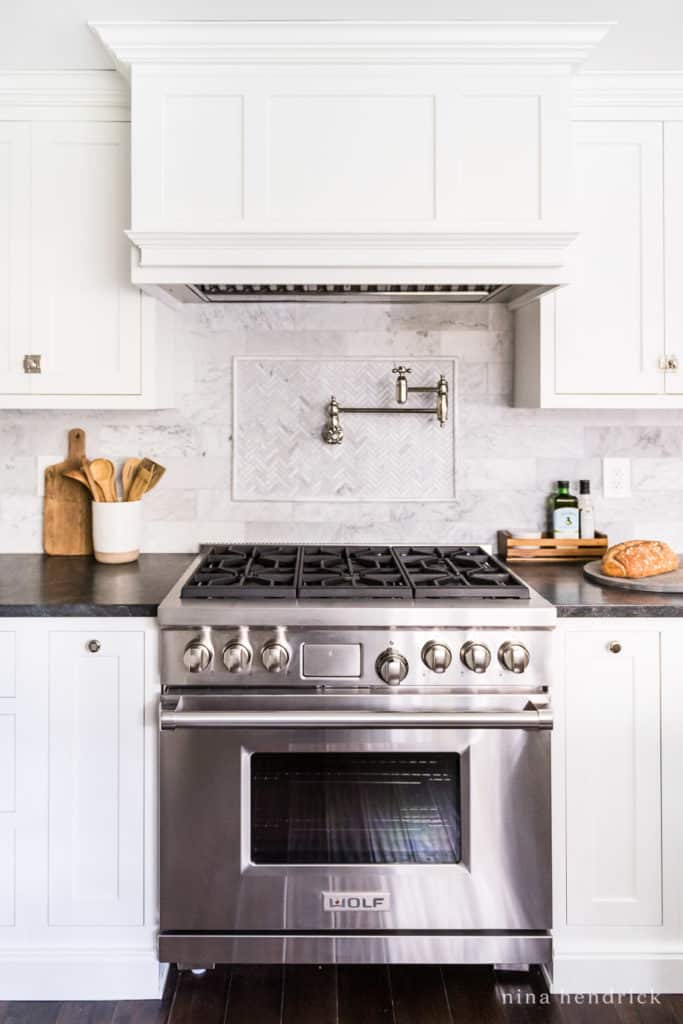 Wolf range with white cabinets — full kitchen renovation source list