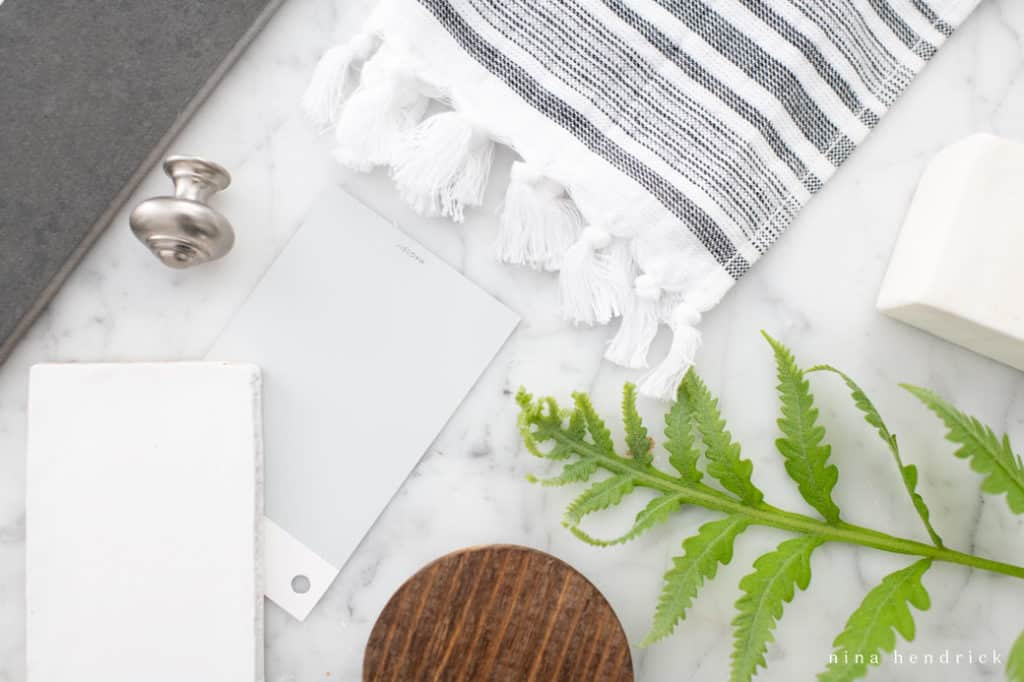 design flat lay with tiles and texture