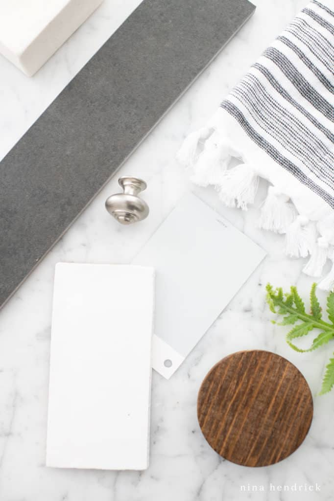 Flat lay with design inspiration for a Classic meets Modern Bathroom Design