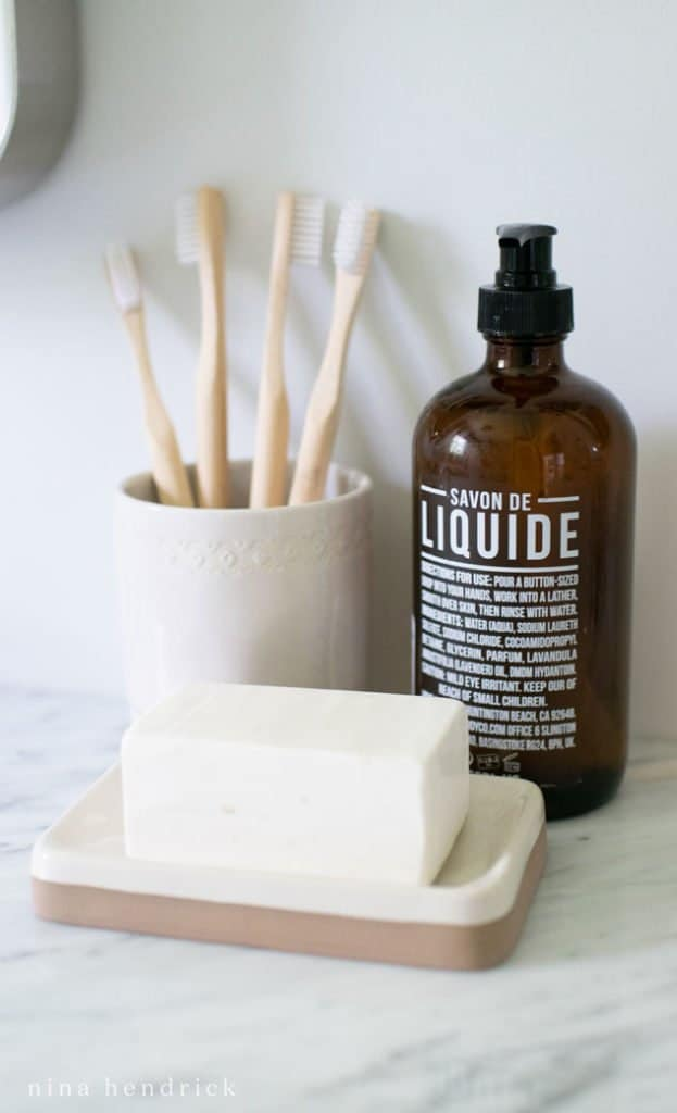 Soap and other accessories for a small bathroom makeover