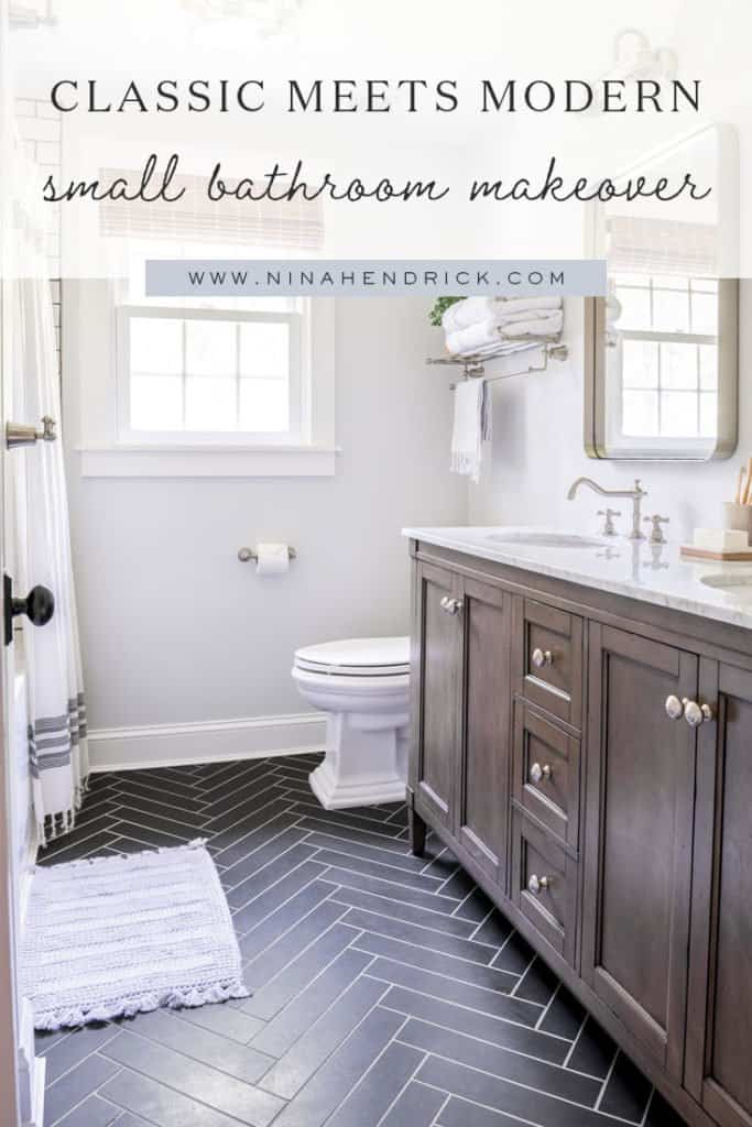Classic Meets Modern Small Bathroom Makeover