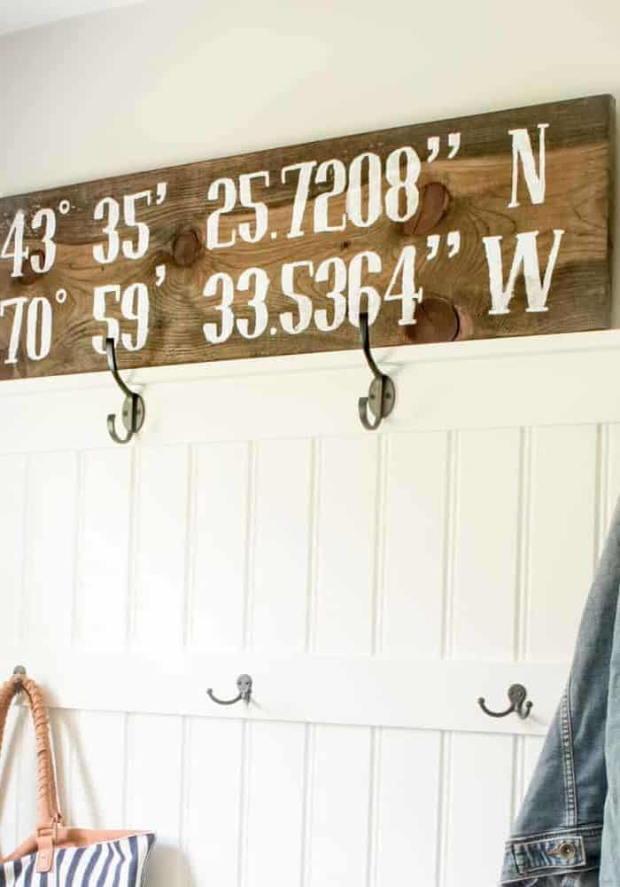 DIY Reclaimed Pine Coordinates Sign