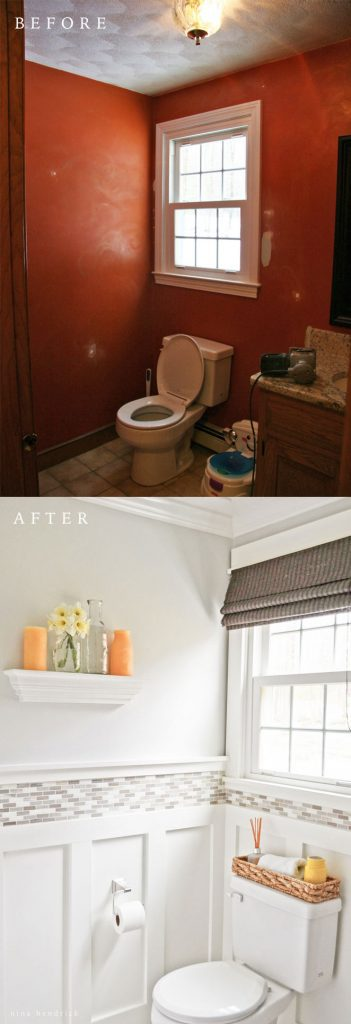 Powder Room Makeover diy board and batten cottage powder room makeover