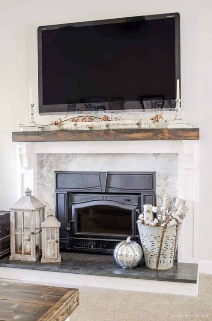 How to cover your brick fireplace modern farmhouse style - How to make a brick fireplace look modern ...