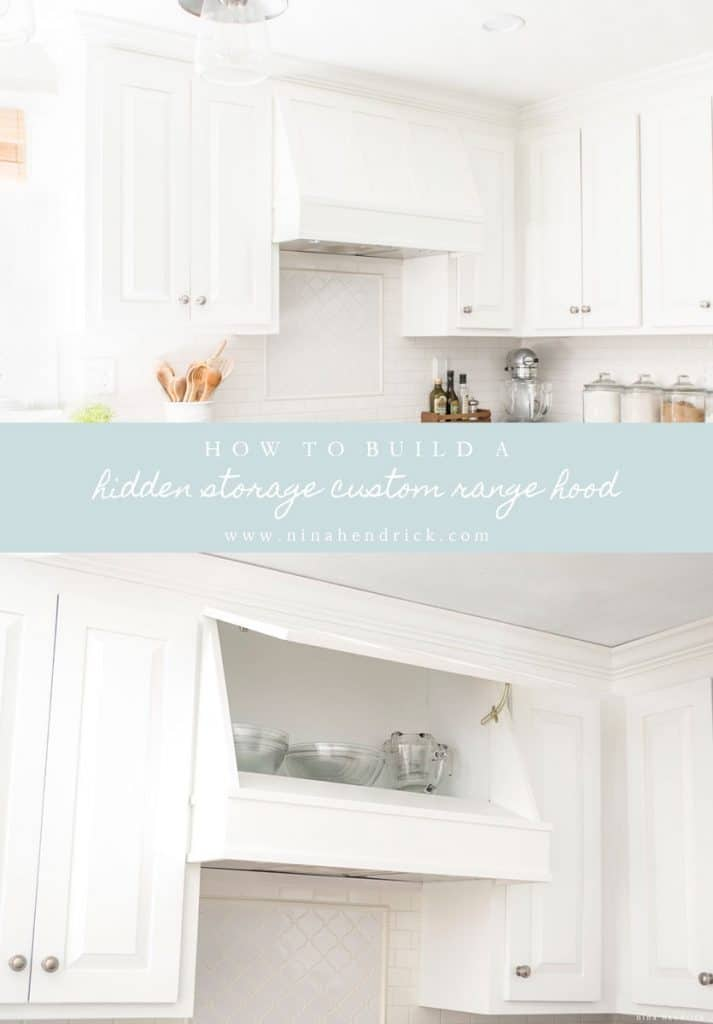 Rather than wasting the space, learn how we used the existing ducting and cabinet above our stove to create a custom DIY storage range hood cover.