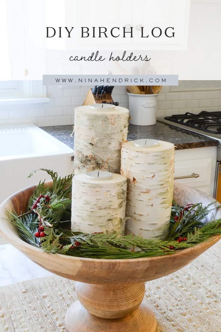 DIY Birch Candle Holders | Learn how to make these simple, inexpensive, and lovely birch candle holders from @nina_hendrick!