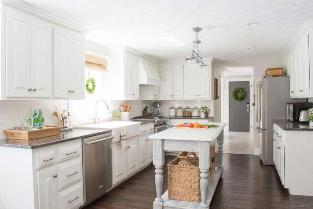 White painted kitchen with DIY Kitchen Island