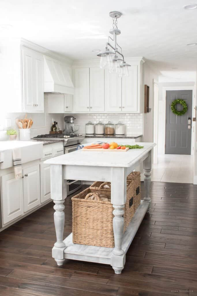furniture-style DIY kitchen island in white kitchen