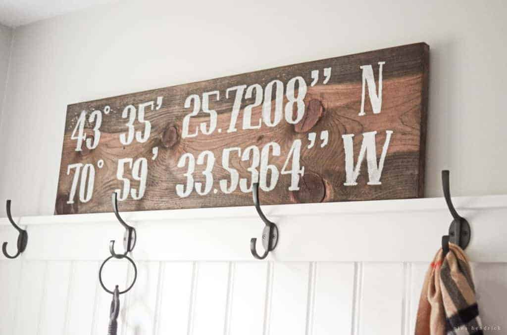 This quick and easy DIY Reclaimed Pine Coordinates Sign adds a rustic accent to any wall and can be completed in a single naptime!