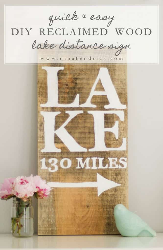 Learn how to make this quick and easy reclaimed wood distance DIY lake sign with this beginner-friendly tutorial.