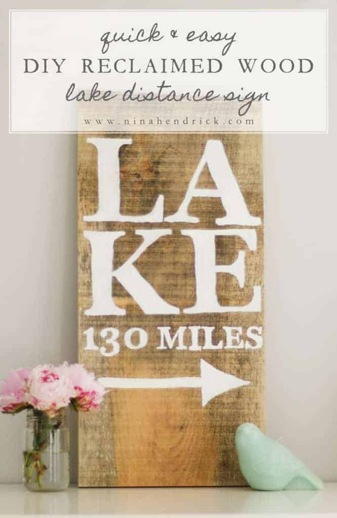 DIY Reclaimed Wood Lake Distance Sign