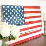 DIY Rustic Pallet Wood Patriotic Wall Decor American Flag | This DIY Patriotic Wood American Flag is perfect for Memorial Day and 4th of July.