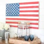 DIY Rustic Pallet Wood American Flag Tutorial | Learn how to build a patriotic pallet wood rustic American flag with this easy step-by-step tutorial.
